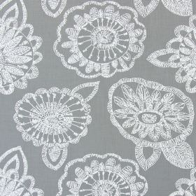 Juno - Dove - Dove grey fabric with modern floral scribbles