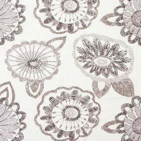 Juno - Blush - Sandy fabric with blush brown modern floral scribbles