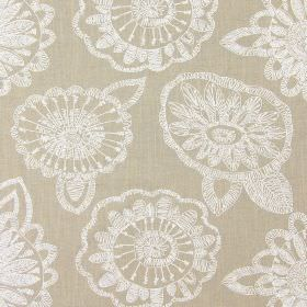 Juno - Linen - Linen brown fabric with modern floral scribbles