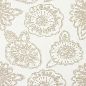 Juno - Chalk - Chalk white fabric with modern floral scribbles