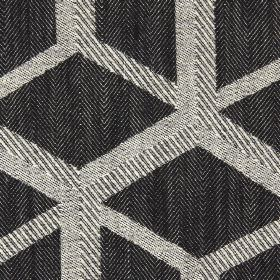 Mellora - Ash - Ash black fabric with light brown lines creating a 3D cube effect