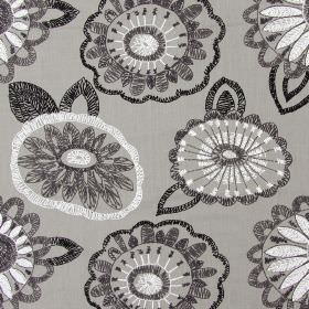 Juno - Ash - Dark sandy fabric with ash black modern floral scribbles