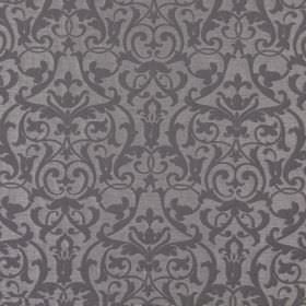 Bliss - Ash - Ash brown fabric with a classic baroque leaf and vine pattern