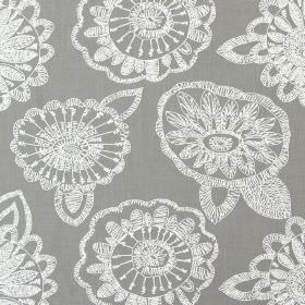 Juno - Smoke - Smoke grey fabric with modern floral scribbles