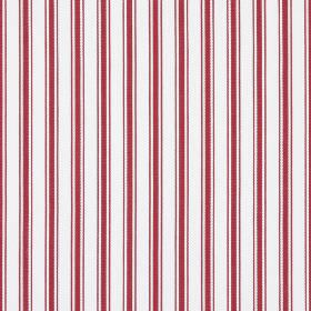 Deck - Red - Cherry and white coloured, vertically striped 100% cotton fabric