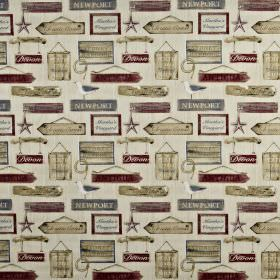 Harbour - Antique - 100% cotton fabric printed with hanging wooden sign designs in burgundy, beige, iron grey and off-white