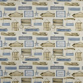 Harbour - Periwinkle - Light beige and dusky blue shades making up a pattern of hanging wooden signs, printed on 100% cotton fabric