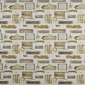 Harbour - Pebble - Fabric made from 100% cotton in creamy brown and mid-grey tones, featuring hanging wooden sign designs