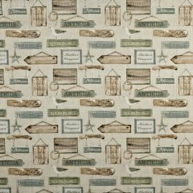 Harbour - Seaspray - Various different shades of light brown and grey making up a hanging sign pattern on fabric made from 100% cotton