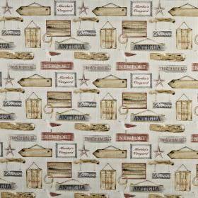 Harbour - Coral - Hanging wooden signs printed in light shades of cream, grey and red on fabric made entirely from cotton