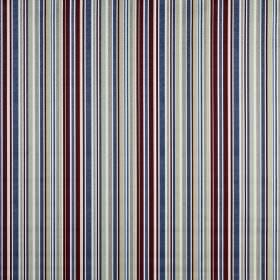 Spinnaker - Antique - White, very dark purple-brown and various bright and light shades of blue making up a vertical striped 100% cotton fabri