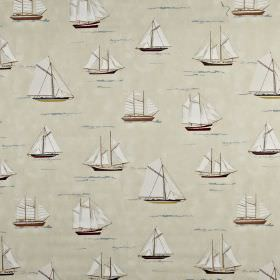 Mariner - Antique - Sailboat themed 100% cotton fabric featuring a print of various different shapes and designs in pale shades of grey