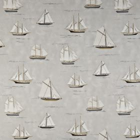Mariner - Pebble - Several light shades of grey making up a sailboat print 100% cotton fabric with various different sizes and designs
