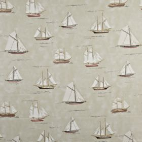 Mariner - Coral - 100% cotton fabric, featuring a print of sailboats in various different sizes and styles, in light shades of grey