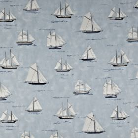 Mariner - Periwinkle - White sailboats printed in various different sizes and designs on a light blue 100% cotton fabric background