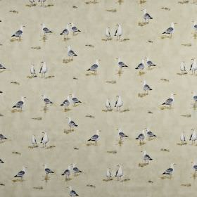 Waters edge - Antique - Seagull print 100% cotton fabric made in white and light shades of grey and beige