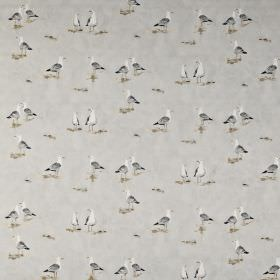 Waters edge - Pebble - White and several different but similar shades of grey making up a fun seagull print on fabric made from 100% cotton