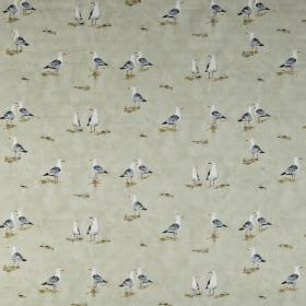 Waters edge - Seaspray - Stone coloured 100% cotton fabric printed with pairs of seagulls in dark grey and white