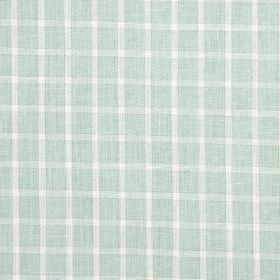 Bianca - Spearmint - Simple, subtle white checks on a background of very pale blue fabric blended from cotton, linen, viscose and polyester