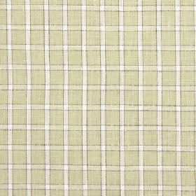 Bianca - Avocado - Cotton, linen, viscose and polyester blend fabric featuring a subtle checked design in light beige-grey and white