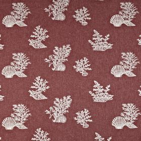Coral Reef - Antique - White coral and sea shells printed on a wine coloured polyester, cotton and linen blend fabric background