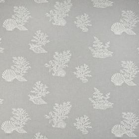 Coral Reef - Pebble - Pale blue-grey polyester, cotton and linen blend fabric printed with white coral and sea shell designs