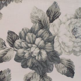 Bolero - Ebony - Ebony black flower impression on white fabric