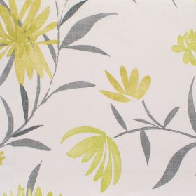Copacabana - Kiwi - White fabric with green and grey garden flower pattern