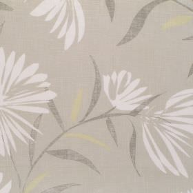 Copacabana - Honey - Grey fabric with white garden flower pattern