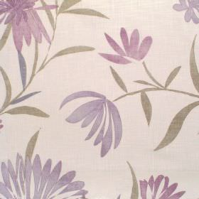Copacabana - Orchid - Cream fabric with lilac garden flower pattern