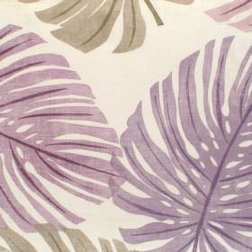 Havanna - Orchid - Orchid purple palm leaves on white fabric