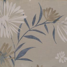 Copacabana - Indigo - Neutral fabric with cream and brown garden flower pattern