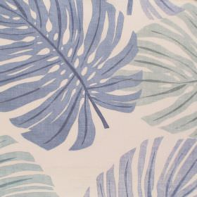 Havanna - Sky - Sky blue palm leaves on white fabric