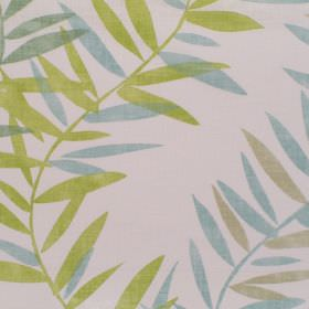 Ipanema - Eucalyptus - Eucalyptus green and blue foliage on white fabric