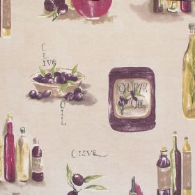 Olive Oil - Mulberry - Neutral cotton fabric with olive oil pattern in burgandy