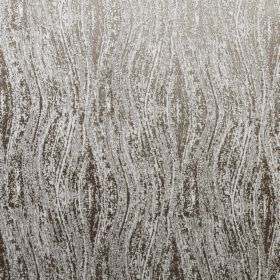 Corian - Linen - 100% polyester fabric covered with patchily printed wavy lines in various different shades of grey and silver