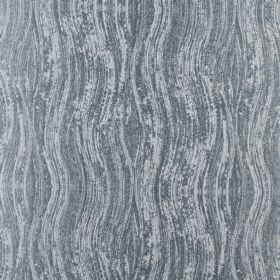 Marble - Azure - Wavy lines printed patchily on 100% polyester fabric in two different light shades of blue