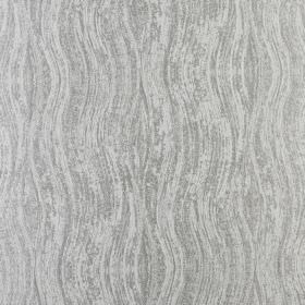 Marble - Chrome - Two similar pale shades of grey making up a patchy design of wavy lines printed on fabric made entirely from polyester