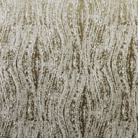 Corian - Avocado - Fabric made from olive green and pale grey coloured 100% polyester, covered with a patchily printed wavy line design