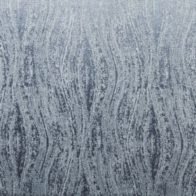 Corian - Azure - A patchily printed wavy line design covering 100% polyester fabric in two similar shades of icy blue