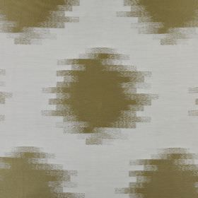 Anatolia - Avocado - Fabric made from 100% polyester in pale blue, behind a repeated pattern of olive green spots with blurred, stepped edge
