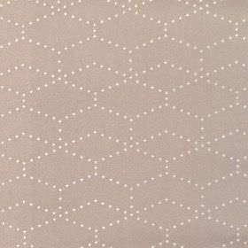 Honeycomb - Caramel - Light brown coloured hard wearing fabric printed with small cream dots arranged in hexagonal shapes