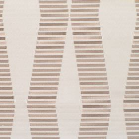 Zeta - Oatmeal - Fabric which is off-white and hard wearing, printed with short, brown, horizontal lines which form a pattern