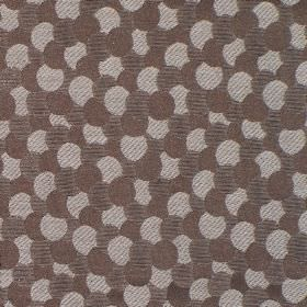 Aero - Latte - Circles printed with dark brown stripes, grey stripes and plain brown, as an overlapping design on hard wearing fabric