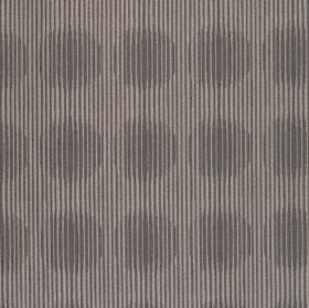 Spectrum - Dresden - Light brown-grey hard wearing fabric printed with dark grey stripes, some of which bulge, resulting in a circle pattern