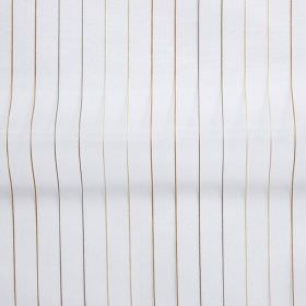 Tramway - Honey - White hard wearing fabric patterned with pairs of shimmering bronze, grey and cream vertical lines