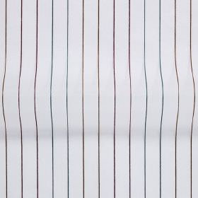 Tramway - Dubarry - Very narrow lines in dark shades of brown, red, purple and blue on a bright white hard wearing fabric background