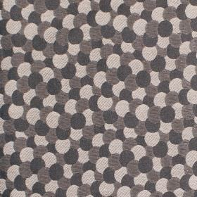 Aero - Noire - Very dark grey, brown-grey and cream coloured overlapping circles printed on hard wearing fabric