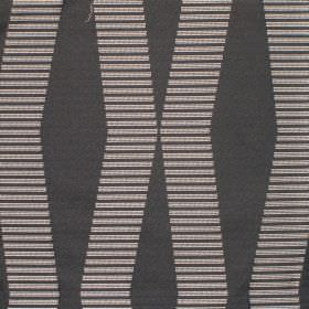 Zeta - Noire - Light grey lines which are short and horizontal repeatedly placed to form a pattern on dark grey hard wearing fabric