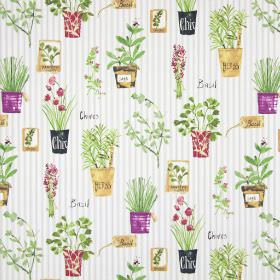 Herb Pots - Sage - Pink and green flowers and herbs arranged in pots and bunches, printed beside text on grey and white striped cotton fabric